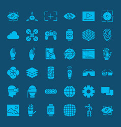 Virtual reality glyphs website icons vector