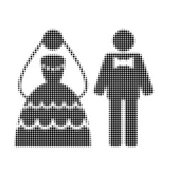 wedding couple halftone dotted icon vector image