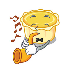 With trumpet egg tart mascot cartoon vector