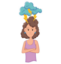 women with stress symptom - anger emotional or vector image
