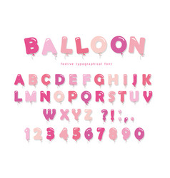 balloon pink font cute abc letters and numbers vector image