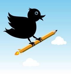 bird with pencil rocket vector image vector image