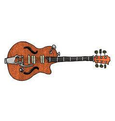 cartoon image of electric guitar vector image vector image