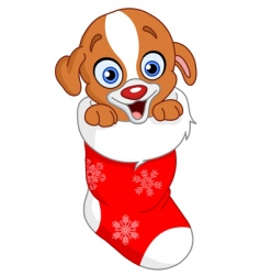 christmas puppy vector image vector image