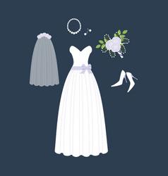 bride weddig dress vector image