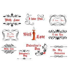 Calligraphic elements with love and valentines vector image vector image
