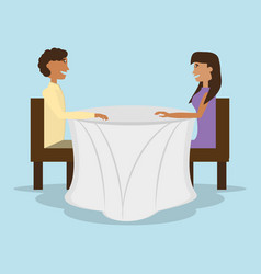 couple sitting in restaurant table vector image vector image