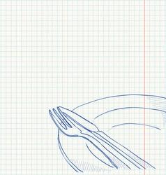 Cutlery Drawing vector image vector image