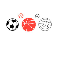 icons of different sports balls vector image vector image