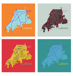 Set of lahore city map color flat panoramic vector