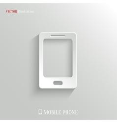 Smartphone icon - white app button vector image vector image