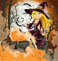 Witch with potion in the pot sits in the cemetery vector image