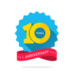 10 years anniversary logo template with shadow on vector