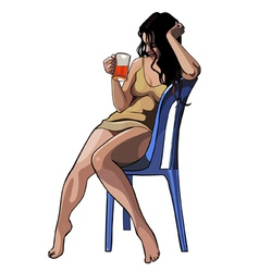 beautiful girl with a glass sitting on a chair vector image