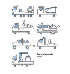Car towing truck roadside assistance vector