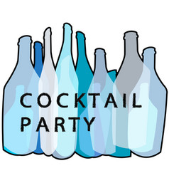 Cocktail party blue poster vector