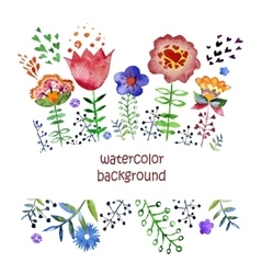 composition with pretty watercolor flowers vector image