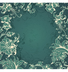 green floral Victorian background vector image
