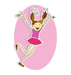 Happy girl jumping in the field vector image vector image