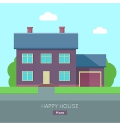 Happy House with Terrace Banner Poster Template vector image vector image