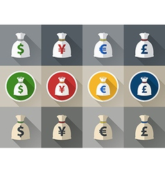 Money bag icon set with currency symbol vector image vector image