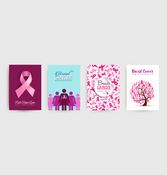 Breast cancer awareness pink ribbon poster set vector