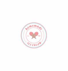homemade ice cream logo design vector image vector image