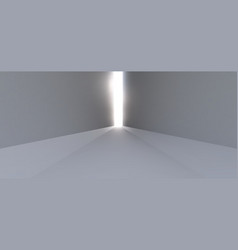 a long empty white corridor with rays of light at vector image
