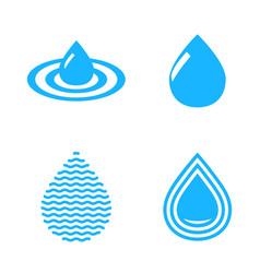 abstract blue water drop symbols set vector image