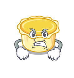 Angry egg tart mascot cartoon vector