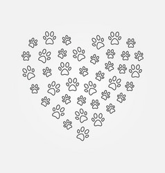 Animals footprints in heart shape line vector