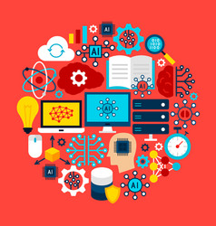 artificial intelligence circle concept vector image