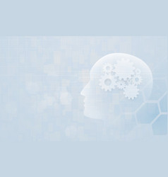 artificial intelligence human head outline vector image