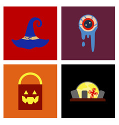 assembly flat icons halloween zombie eyes bag vector image