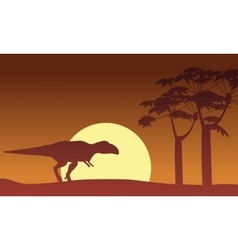 At sunset mapusaurus scenery silhouettes vector