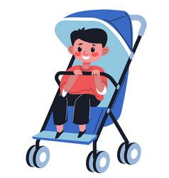 baby boy sitting in perambulator holding handle vector image
