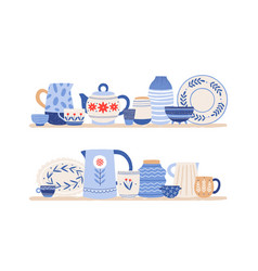 beautiful handmade ceramics on shelves flat vector image