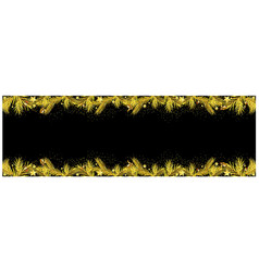 black xmas banner with golden coniferous twigs vector image