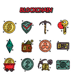blockchain flat icons set vector image