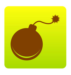 bomb sign brown icon at vector image