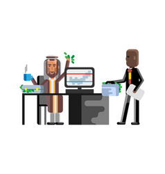 Business meeting arabic businessman with investor vector