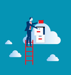 Businessman on top of ladder putting file in vector