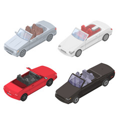 Cabriolet car icons set isometric style vector