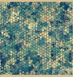 Camouflage seamless pattern with blue hexagonal vector