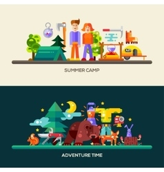 Camping and hiking website banners set vector image vector image