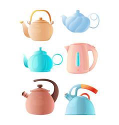 Cartoon kettles big set various teapots vector
