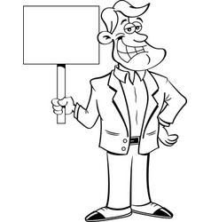 Cartoon smiling man holding a sign vector