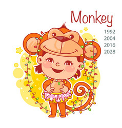chinese year symbol monkey vector image