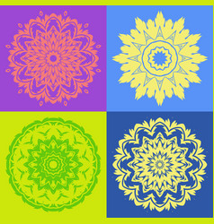 colorful mandala ornaments collection vector image