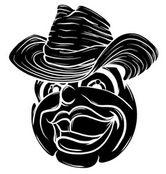 cute smiling emoticon wearing cowboy hat emoji vector image